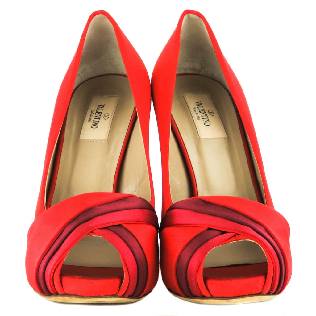 Valentino Red Satin Criss-Cross Peep Tote Platform Pumps - Pumps