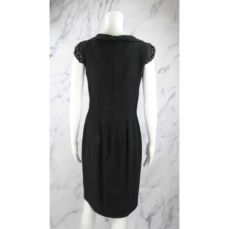 Valentino Roma Black Acetate Viscose Embellished Short Sleeve Size 4 Dress - Dresses