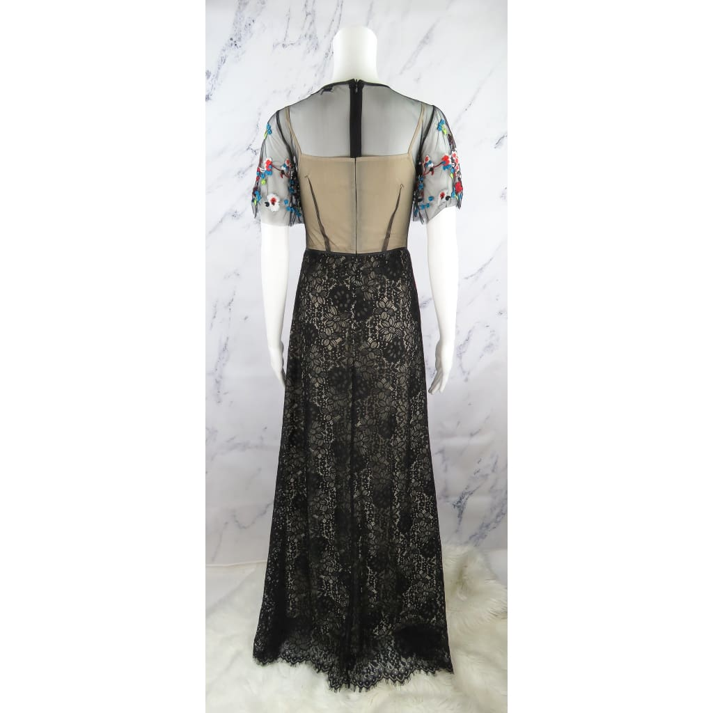 Valentino Roma Black Lace Multicolor Floral Embroidered Small Long Dress - Dresses
