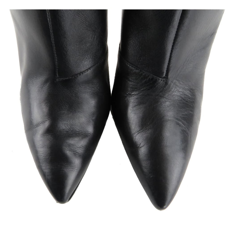 Via Spiga Black Leather Femke Pointed Toe Over The Knee Boots - Boots/Rain Boots