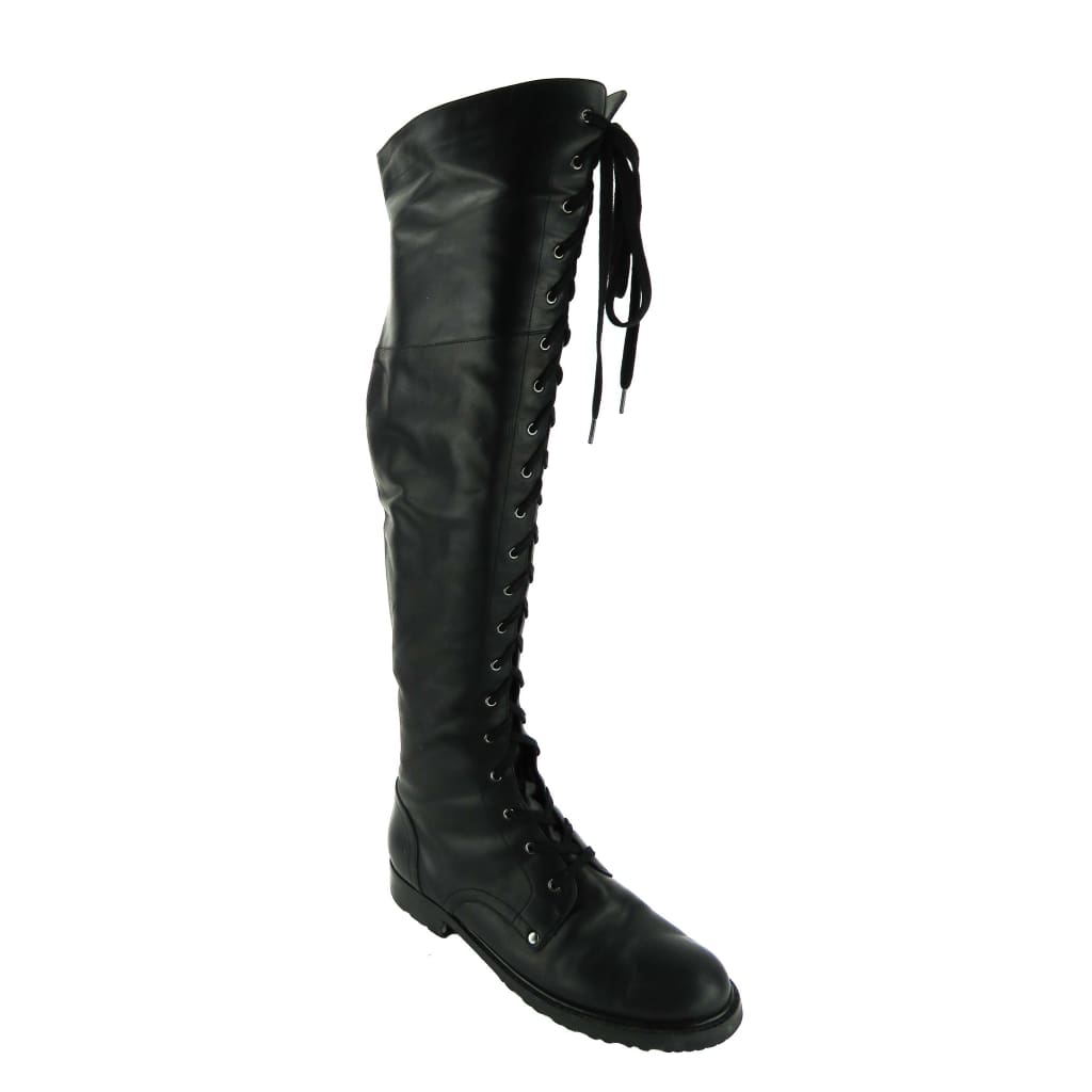 Via Spiga Black Leather Nathan Over The Knee Boots - Boots/Rain Boots