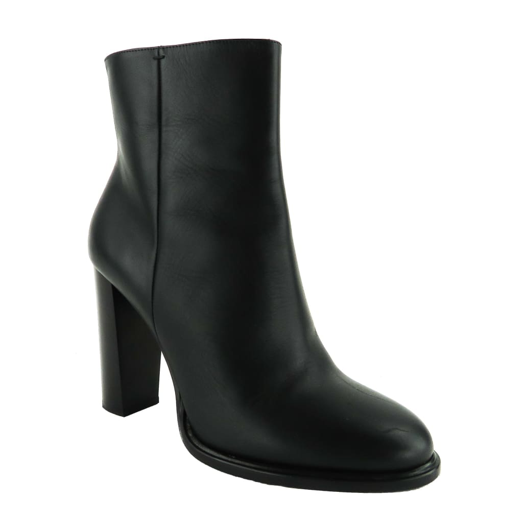 Vince Black Leather Overton Ankle Boots - Bootie
