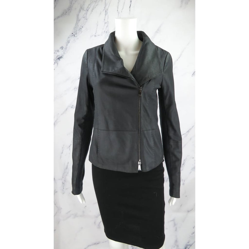 Vince Charcoal Black Goat Leather Wool Trim Small Jacket - Jacket