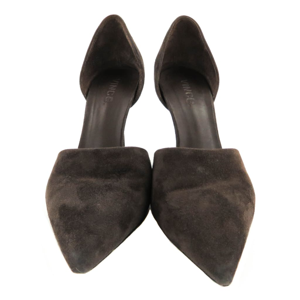 Vince Dark Brown Suede Claire Dorsay Heel Pumps - Heels