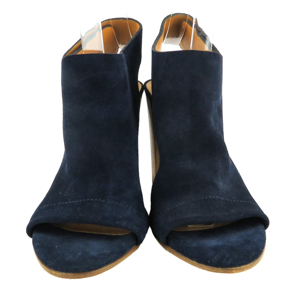 Vince Navy Blue Suede Open Toe Wooden Heel Sandals - Pumps