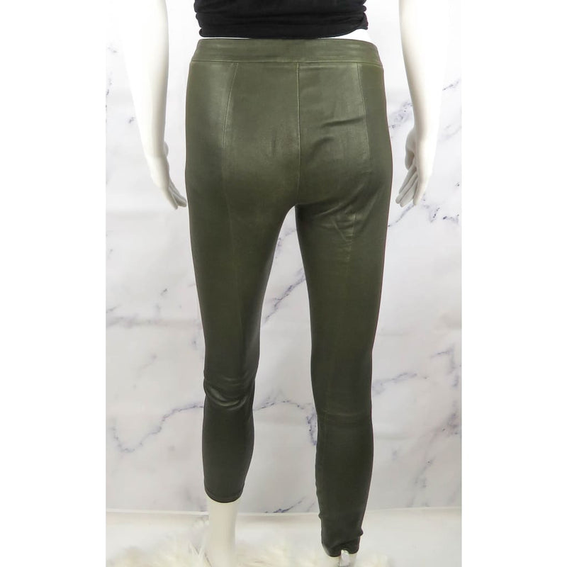 Vince Olive Green Leather X-Small Leggings - Leggings