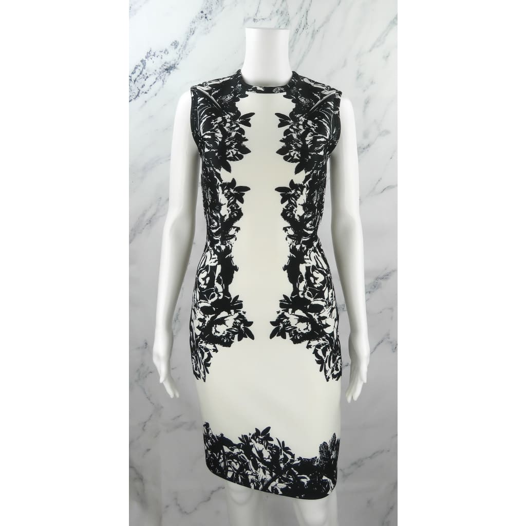 Yigal Azrouel White and Black Polyester Size 4 Floral Print Scuba Dress - Dresses