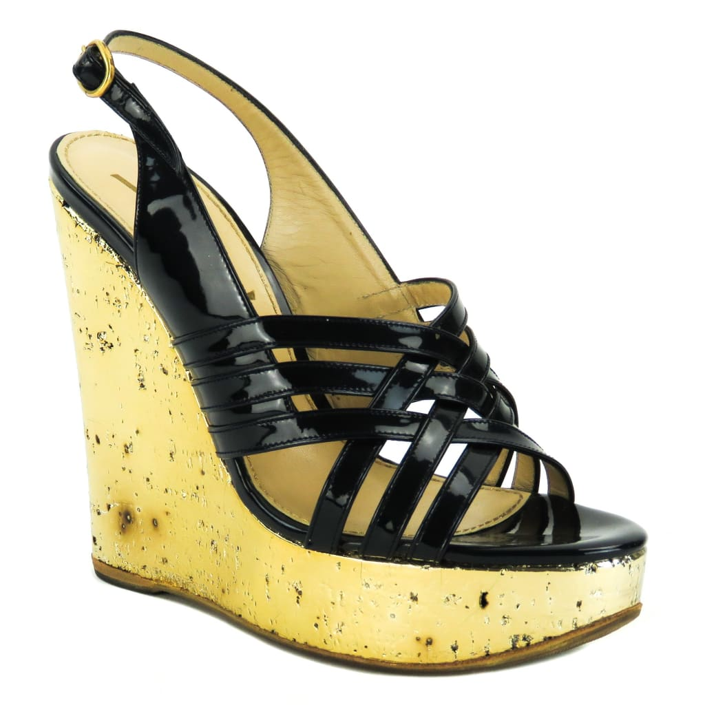 Yves Saint Laurent Black Patent Leather Gold Cork Platform Sandal Wedges - Wedges