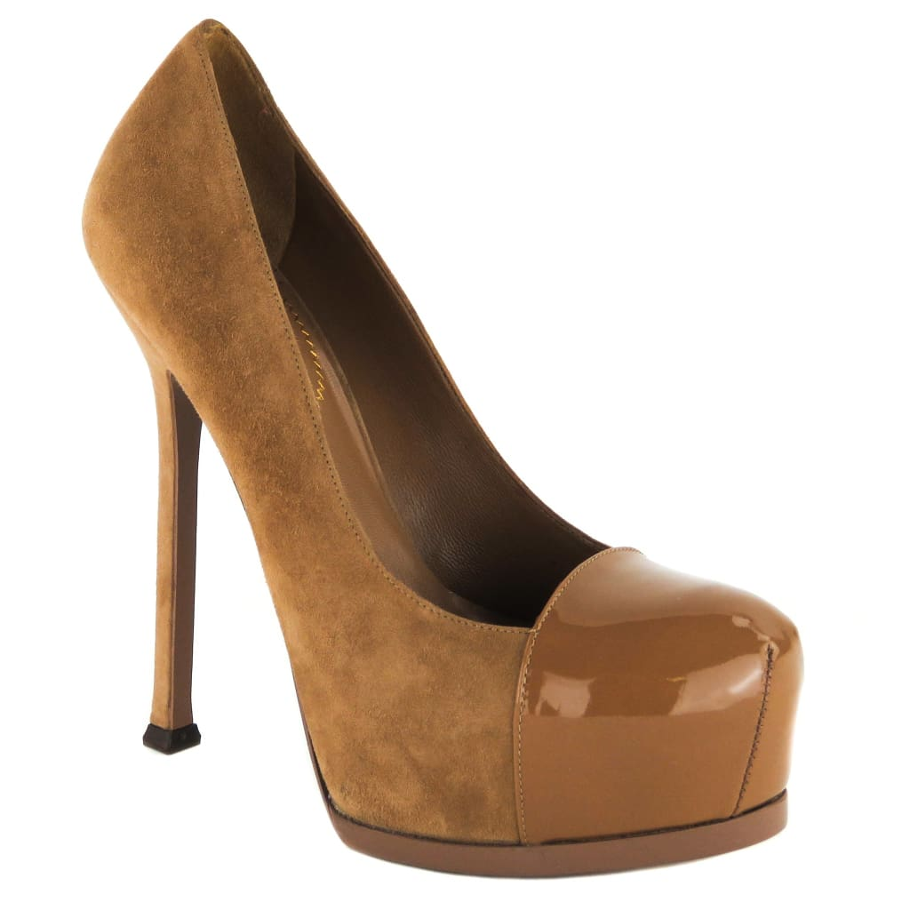 Yves Saint Laurent Tan Suede Cap Toe Tribtoo 105 Platform Pumps - Heels