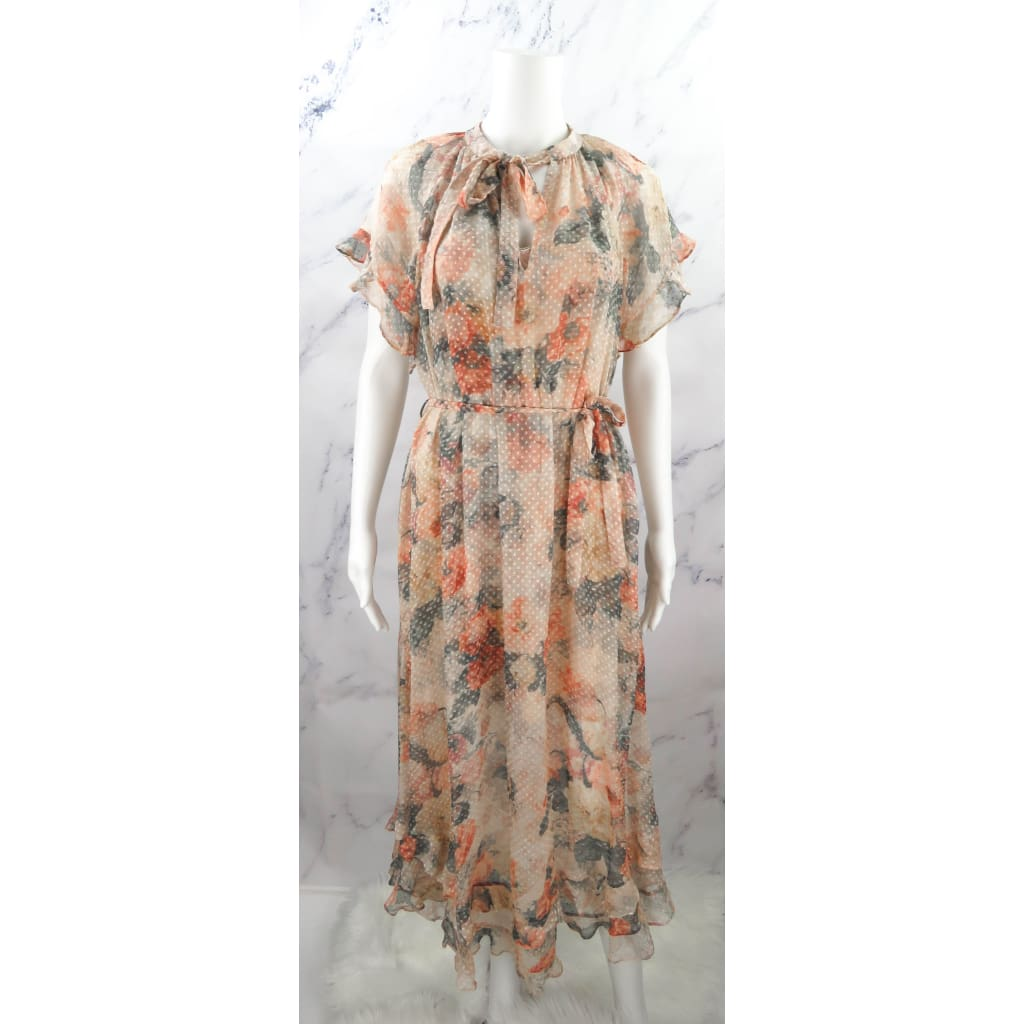 Zimmermann Tan Mutlicolor Silk Size Floral Maxi Dress - Maxi Dress