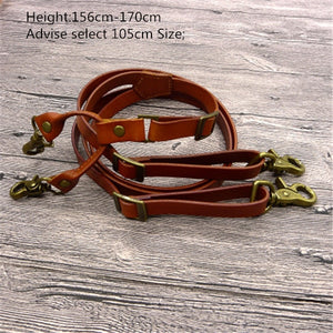 British Style Hook Men Leather Suspenders