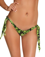 Marijuana Print Ribbon Tie Side Thong-Stripper Thongs