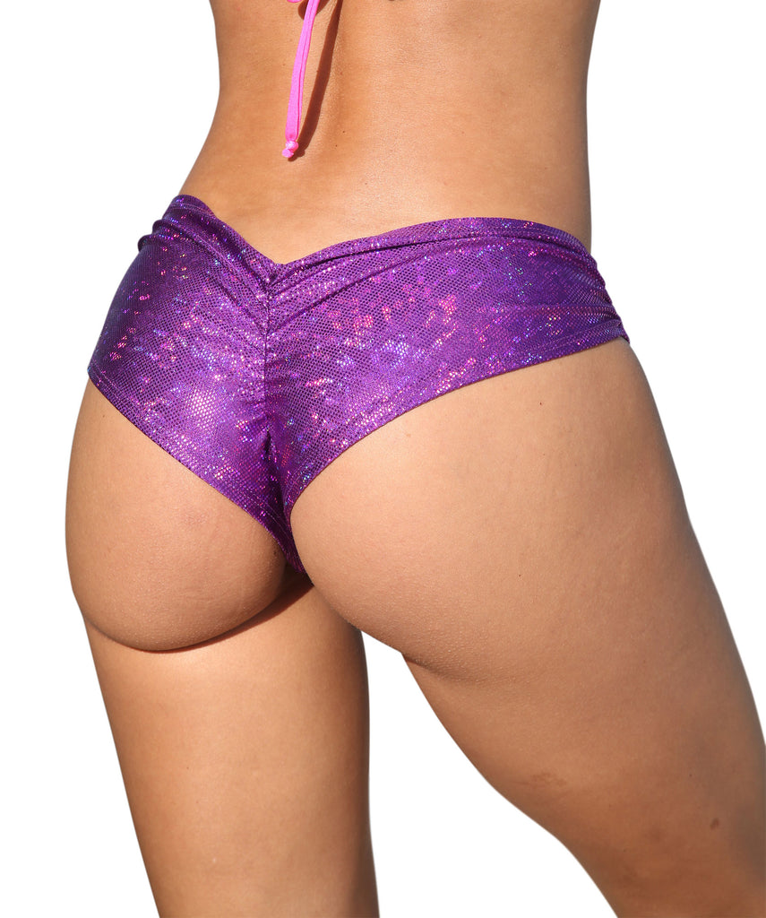 Purple Cheeky Booty Shorts Holographic Rave Wear