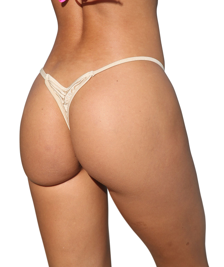 Nude Mini Scrunch Thong Bottom-Stripper Clothing