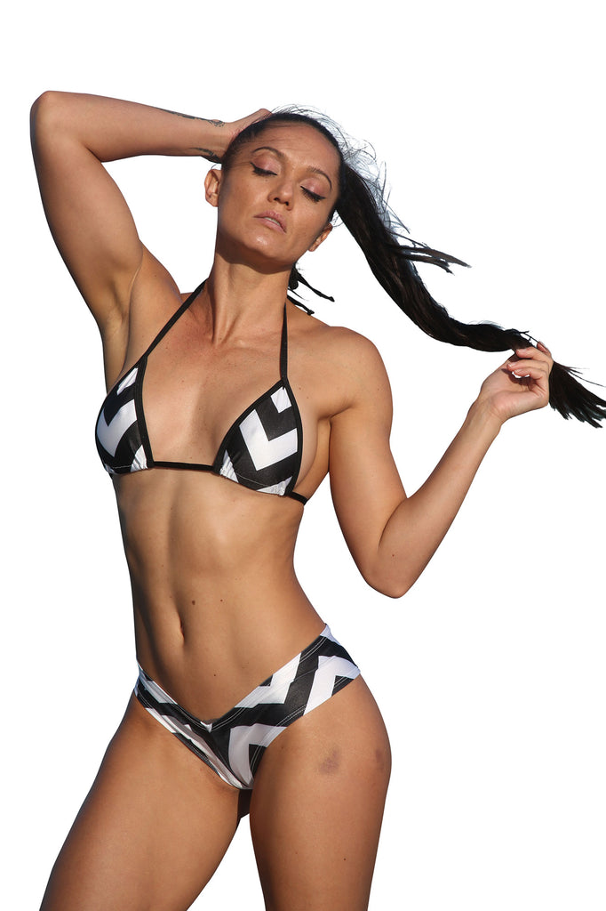Black-White Print Two Piece Short Set-Stripper Clothing