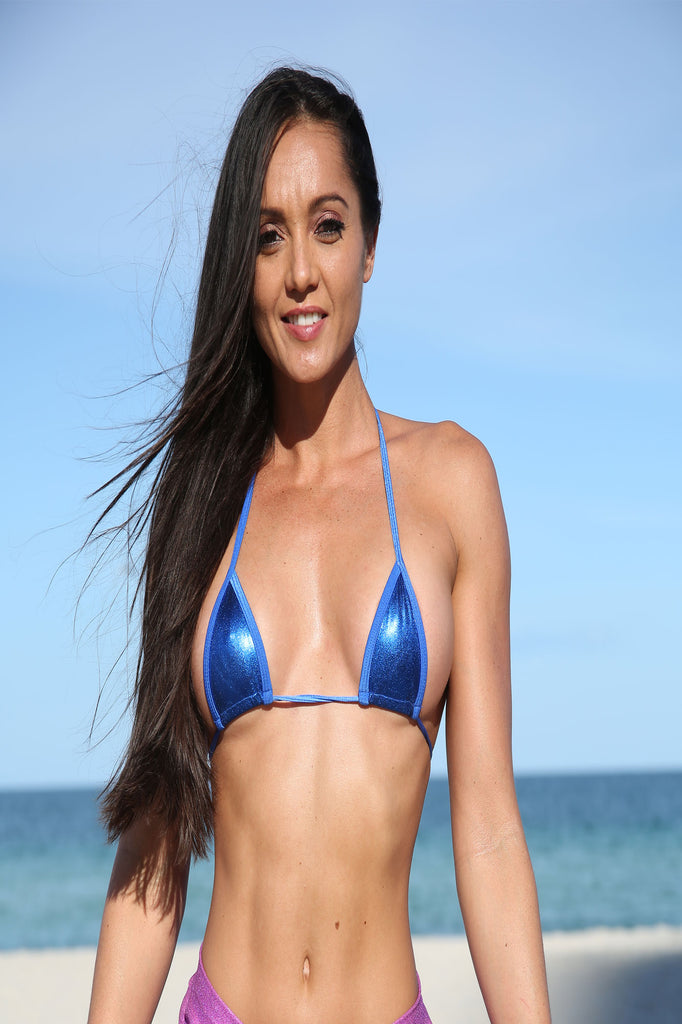Royal Blue Metallic  Sassy Mini Triangle Top  Bikini Tops
