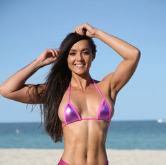 Hot Pink Metallic  Sassy Mini Triangle Top  Bikini Tops