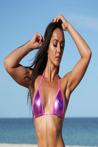 Hot Pink Metallic  FULL TRIANGLE TOP Stripper Clothing