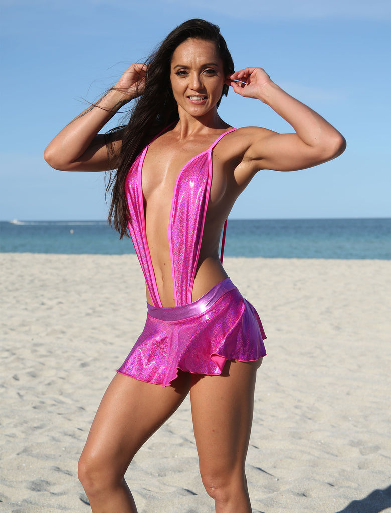 Sassy Hot Pink Metallic Sling Shot Bikini- Stripper Clothing