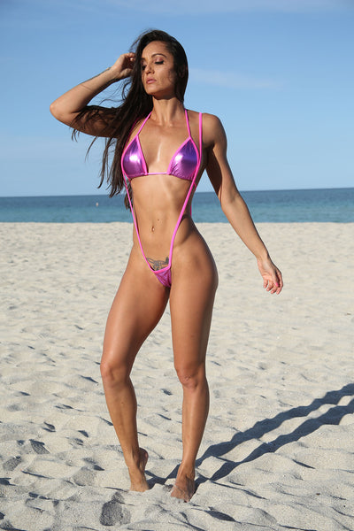 Hot Pink Metallic Slingshot Bikinis