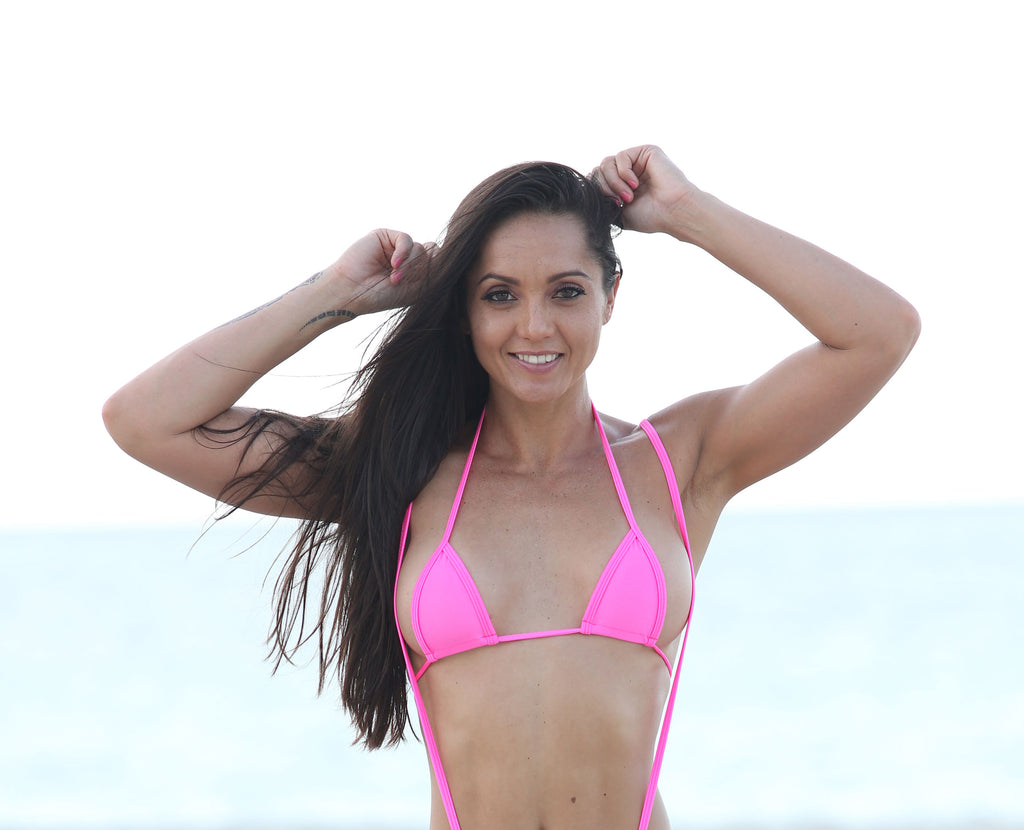 Neon Pink Micro Mini Curtain Triangle Bikini Top