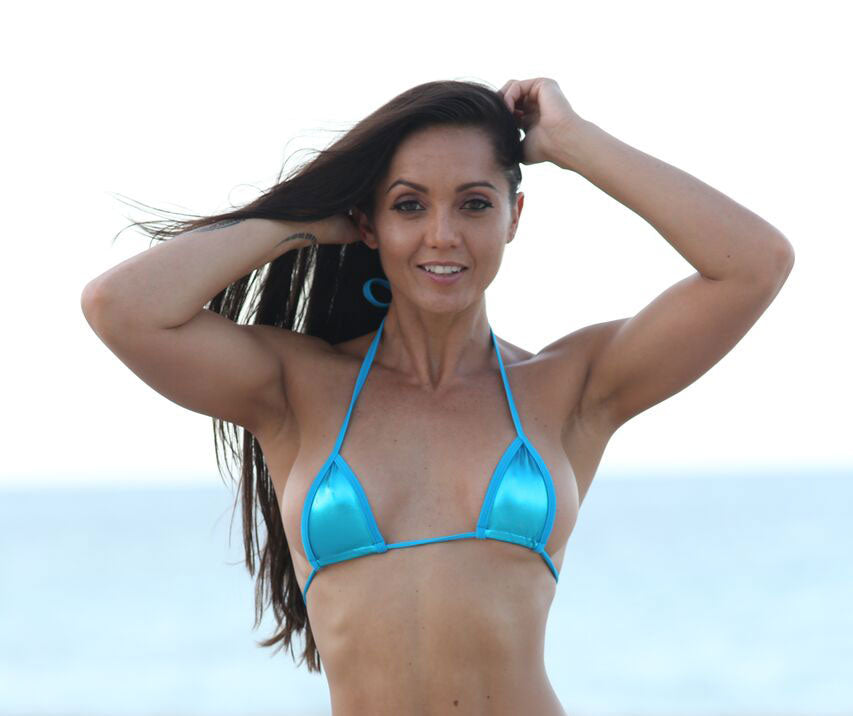 Turquoise Metallic  Sassy Mini Triangle Top  Bikini Tops