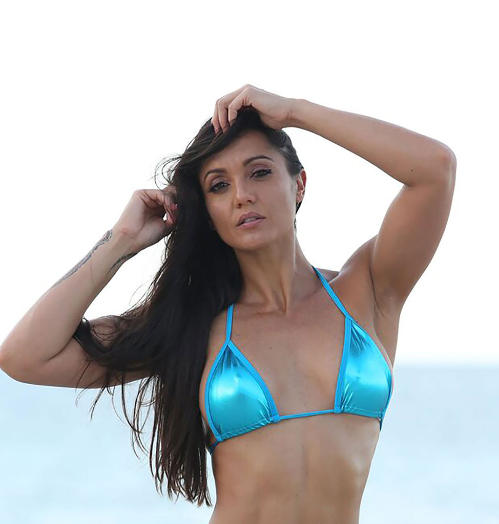 Turquoise Metallic  FULL TRIANGLE TOP Stripper Clothing