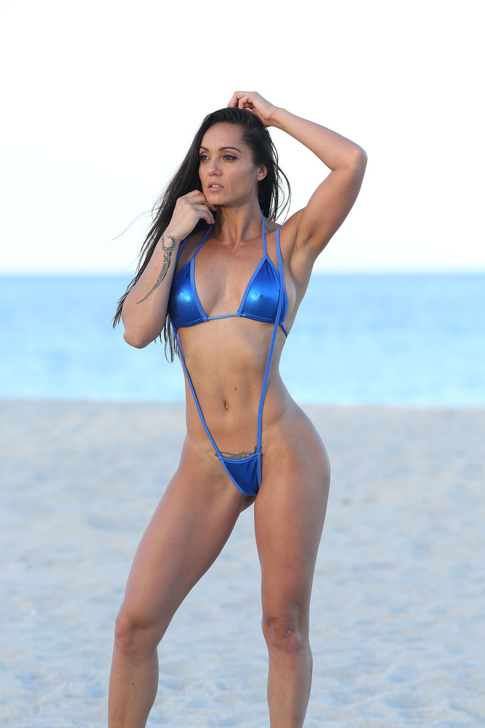 Royal Blue Metallic Slingshot Bikinis