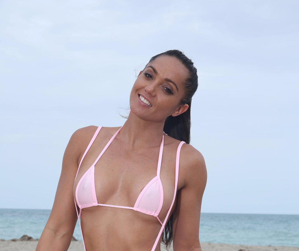 Baby Pink Micro Mini Curtain Triangle Bikini Top