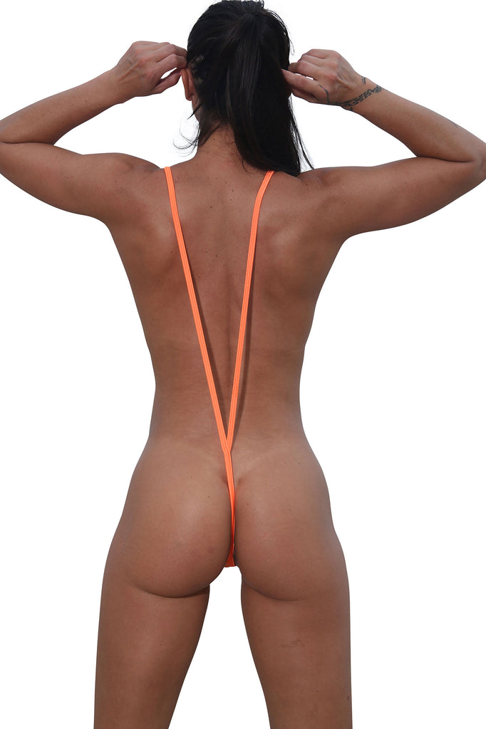 Sassy Orange Metallic Slingshot Bikini- Stripper Clothing