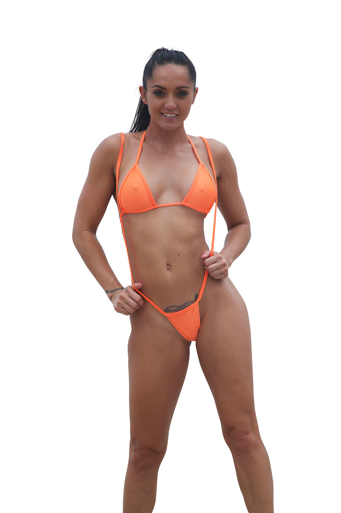 Sexy Orange Slingshot Bikinis Stripper Clothing