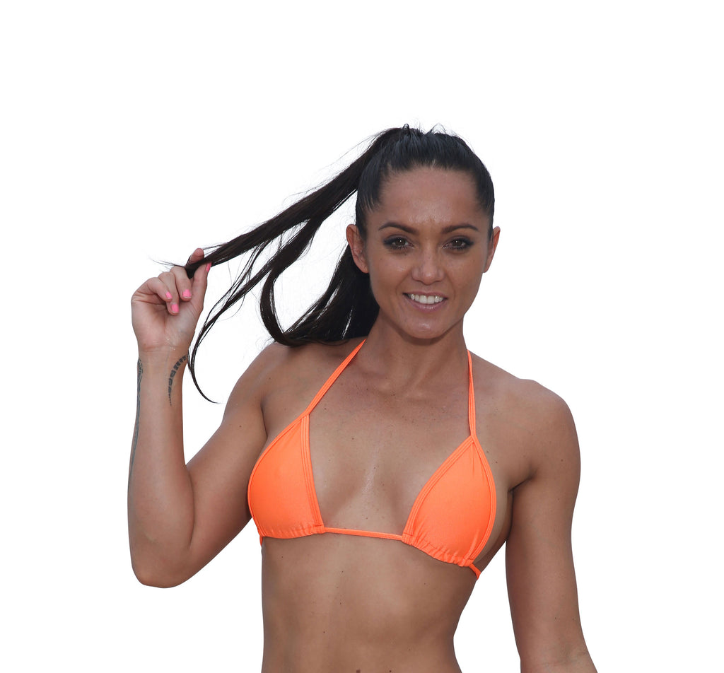 Orange Basic Curtain Triangle Bikini Top