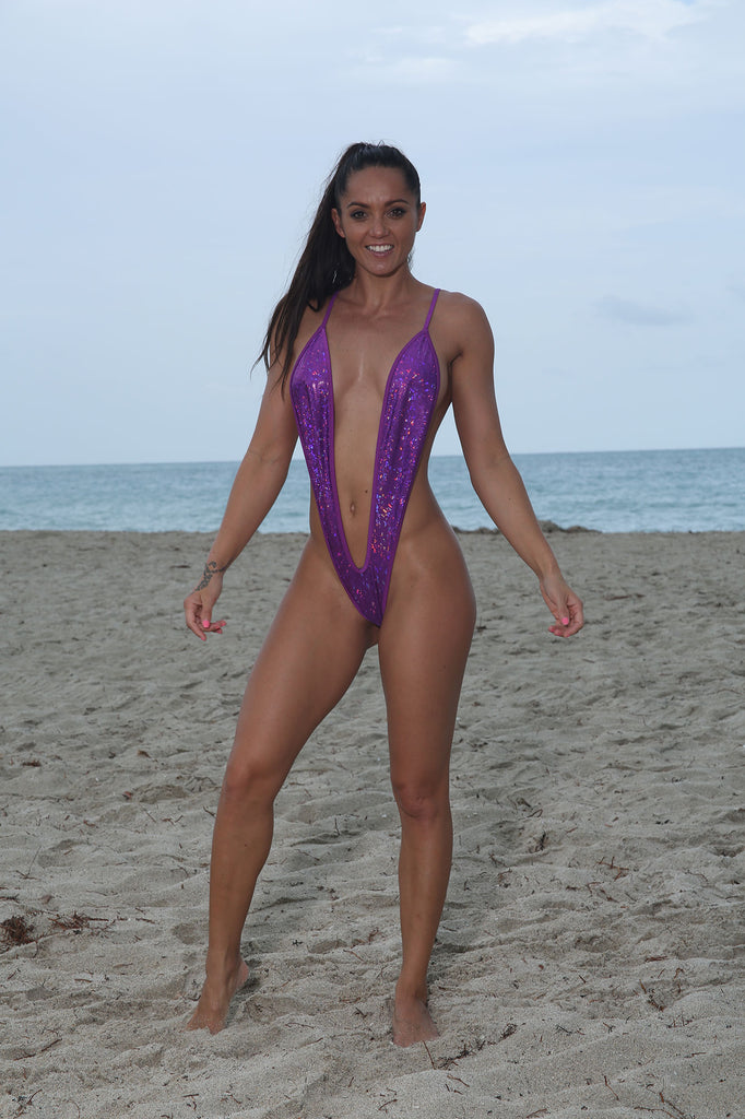 Sassy Purple Metallic Slingshot Bikini- Stripper Clothing