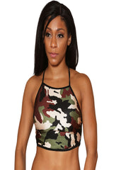 Halter Neck Camo Crop Top