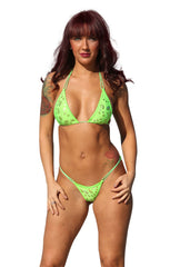 Metallic Print Scrunch Butterfly Bottom String Bikini