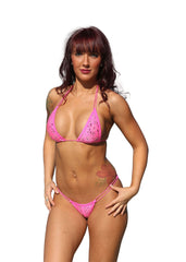 Pink Bandanna Print Scrunch Butterfly Bottom String Bikini