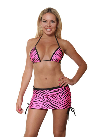 Neon Pink Zebra Print Mini Skirt Set - Stripper Clothing