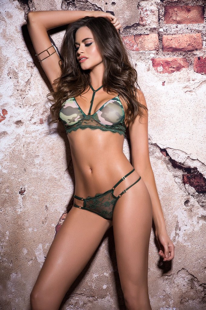 Camo Printed Mesh And Lace Set Stripper Outfits