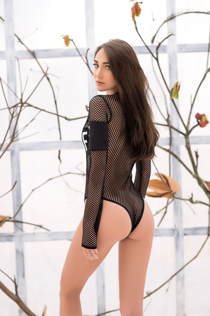 Black Long Sleeve Net Bodysuit