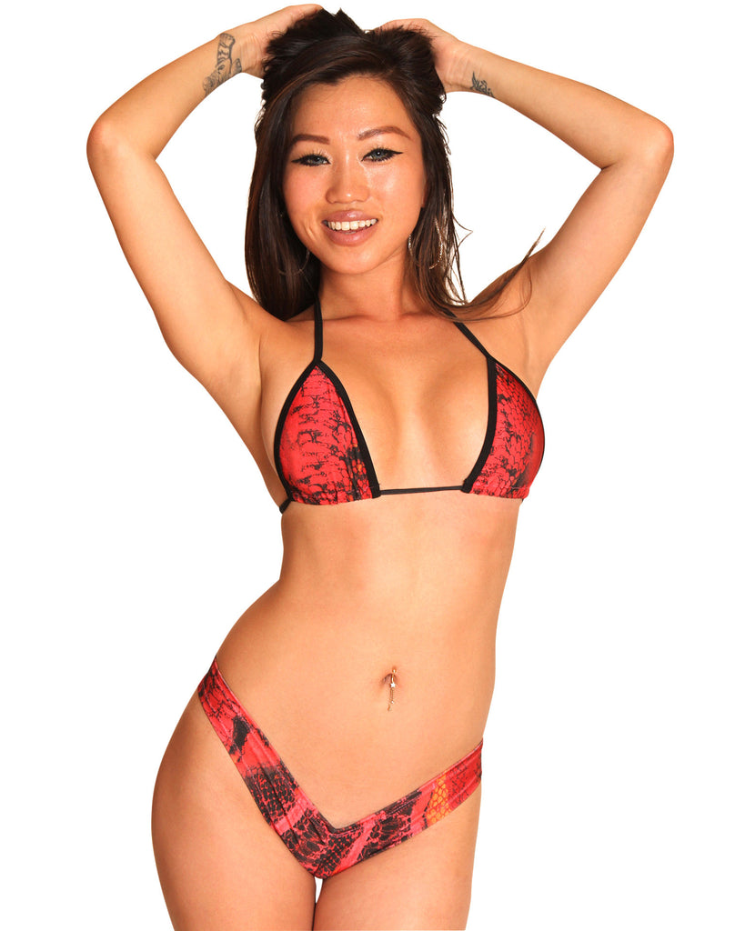 Red Snake Booty Short Set-Stripper Clothing
