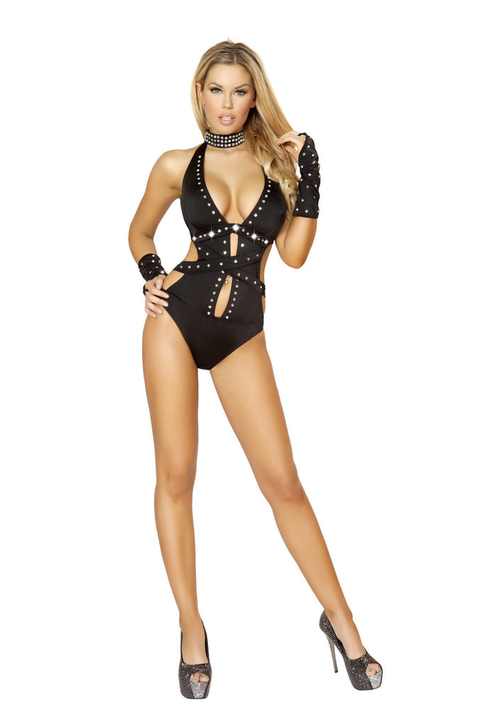 Rhinestone Romper with Strap and Mirror Detail.