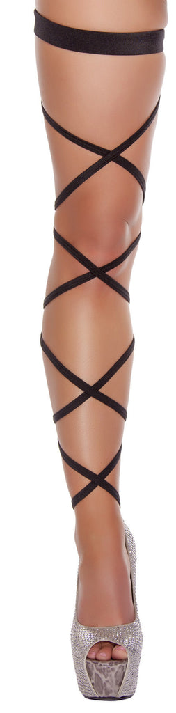 3231-Black Pair of Leg Strap with Attached Thigh Garter