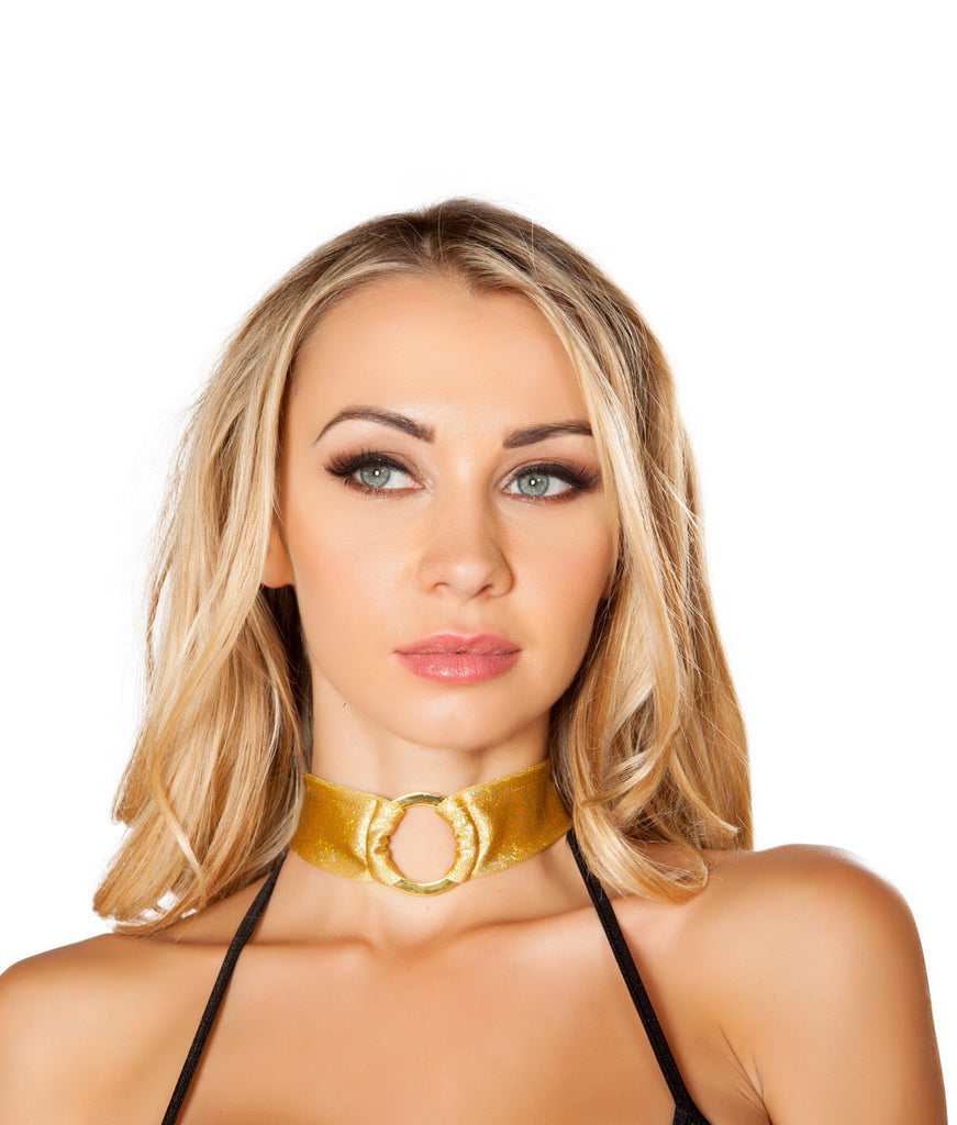 3487-Shimmer Gold O Ring Choker Rave Outfits