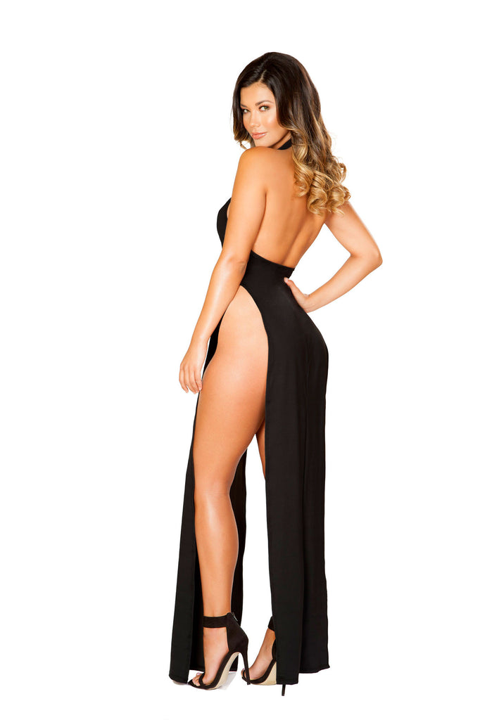 Sassy Maxi Length Dress With High Slits And Open Back.