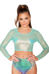 Metallic Aqua Sheer Rave Wear Crop Top