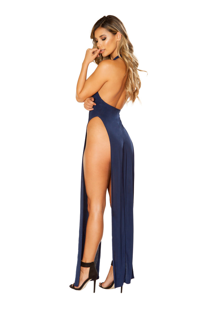 Navy Maxi Length Dress With High Slits And Open Back.