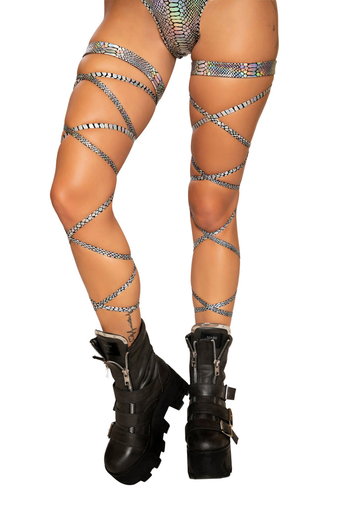 Silver Snake 100 Inch Leg Strap With Attached Garter Rave wear