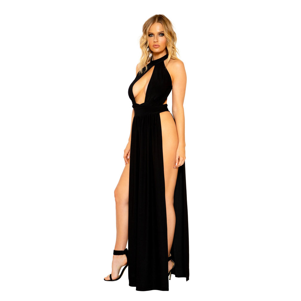 Black Maxi Length Dress With Open Leg