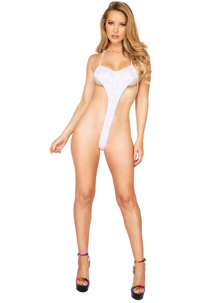 Sexy White Sequin One Piece Bodysuit Rave Wear
