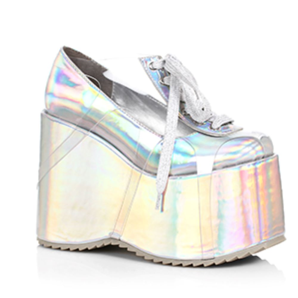 Silver Hologram Chunky 5 Inch Platform Shoe With Front Laces